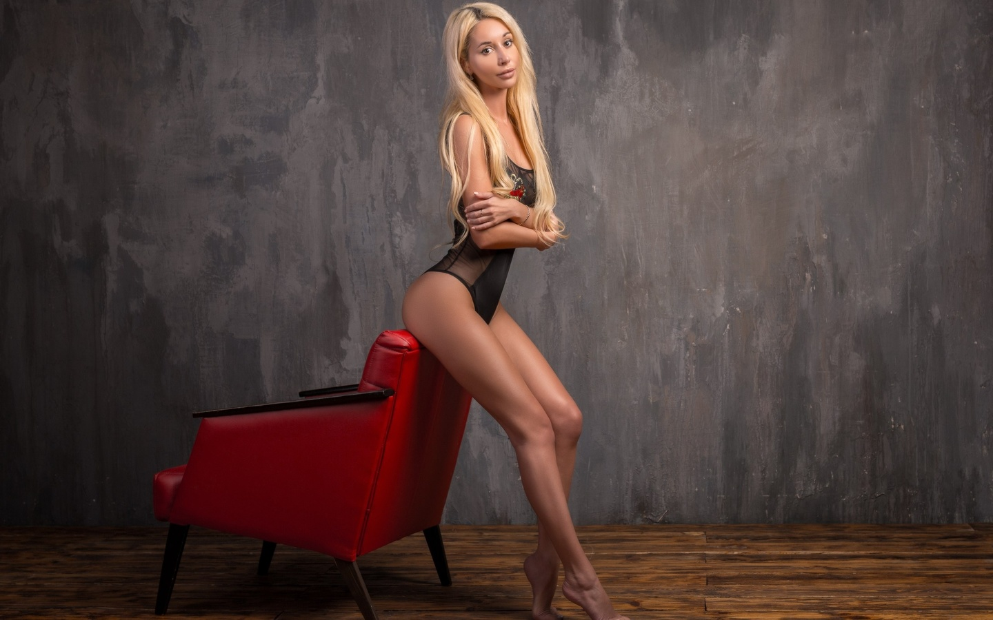 women, blonde, tanned, ass, wall, black lingerie, arms crossed, long hair