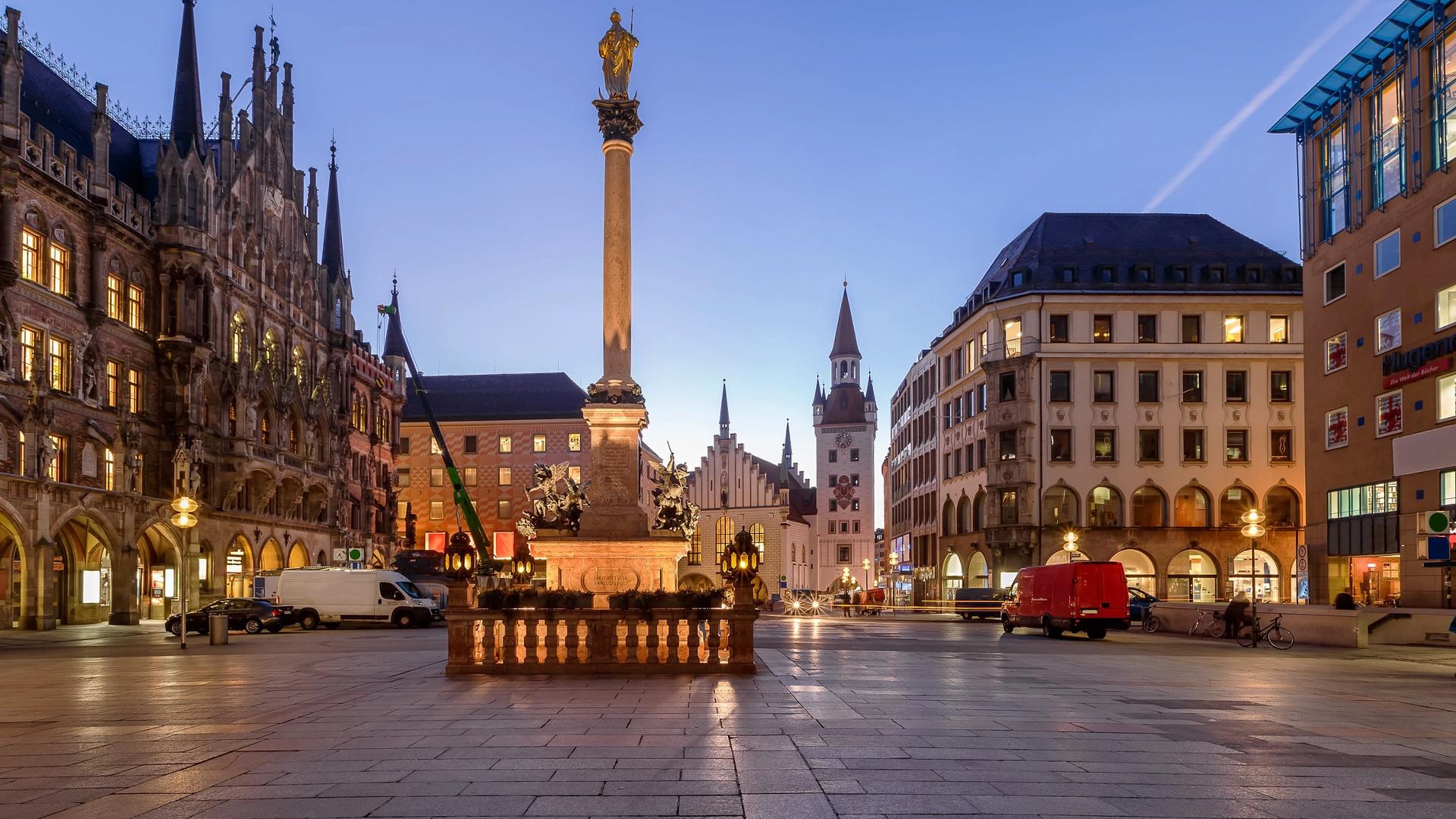 marienplatz, munich, bavaria, germany, бавария, германия, город, мюнхен, площадь, мариенплац, здания, дома, ратуша, утро