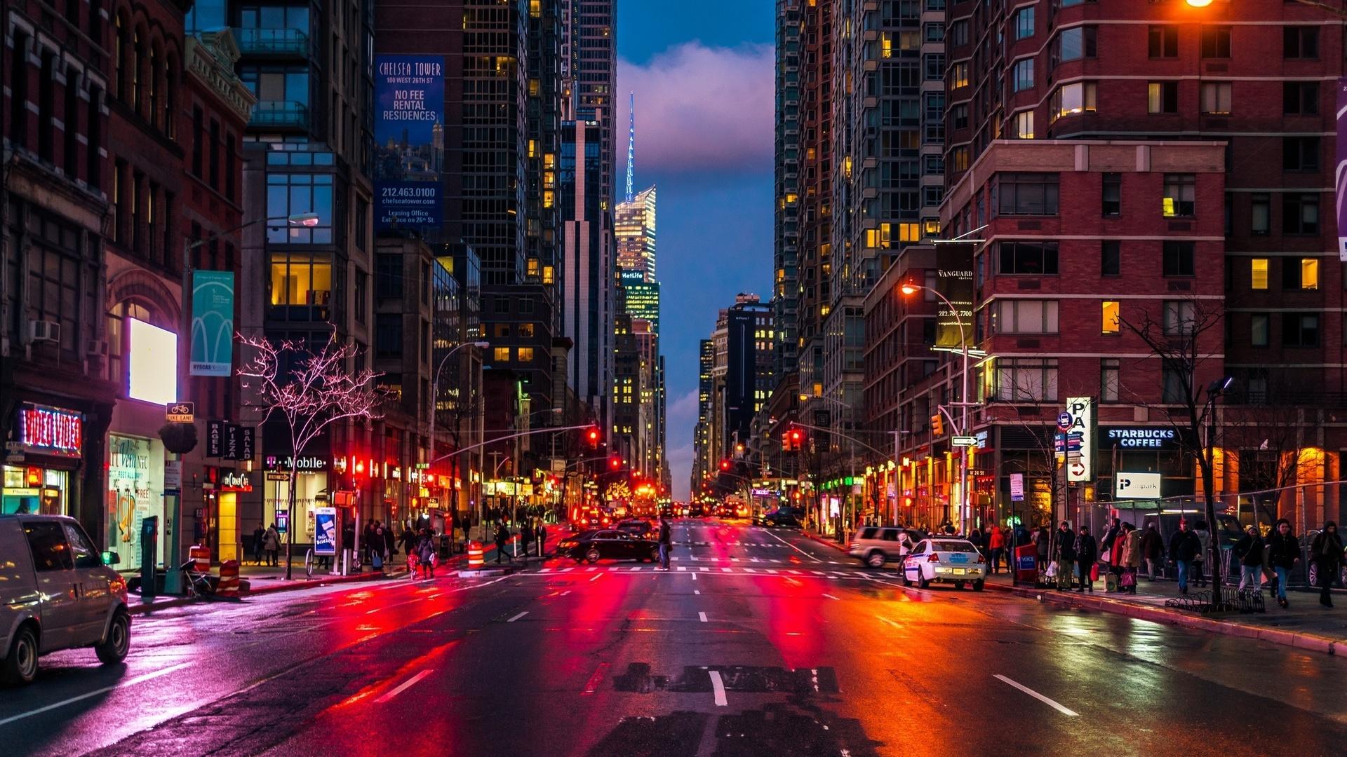 Современной, картинки город ночью улицы
