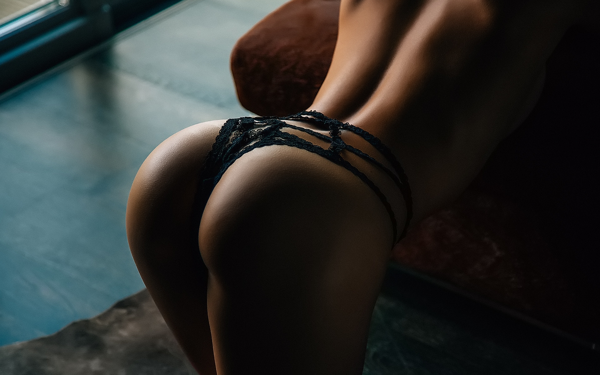 Sexy ass of young slim