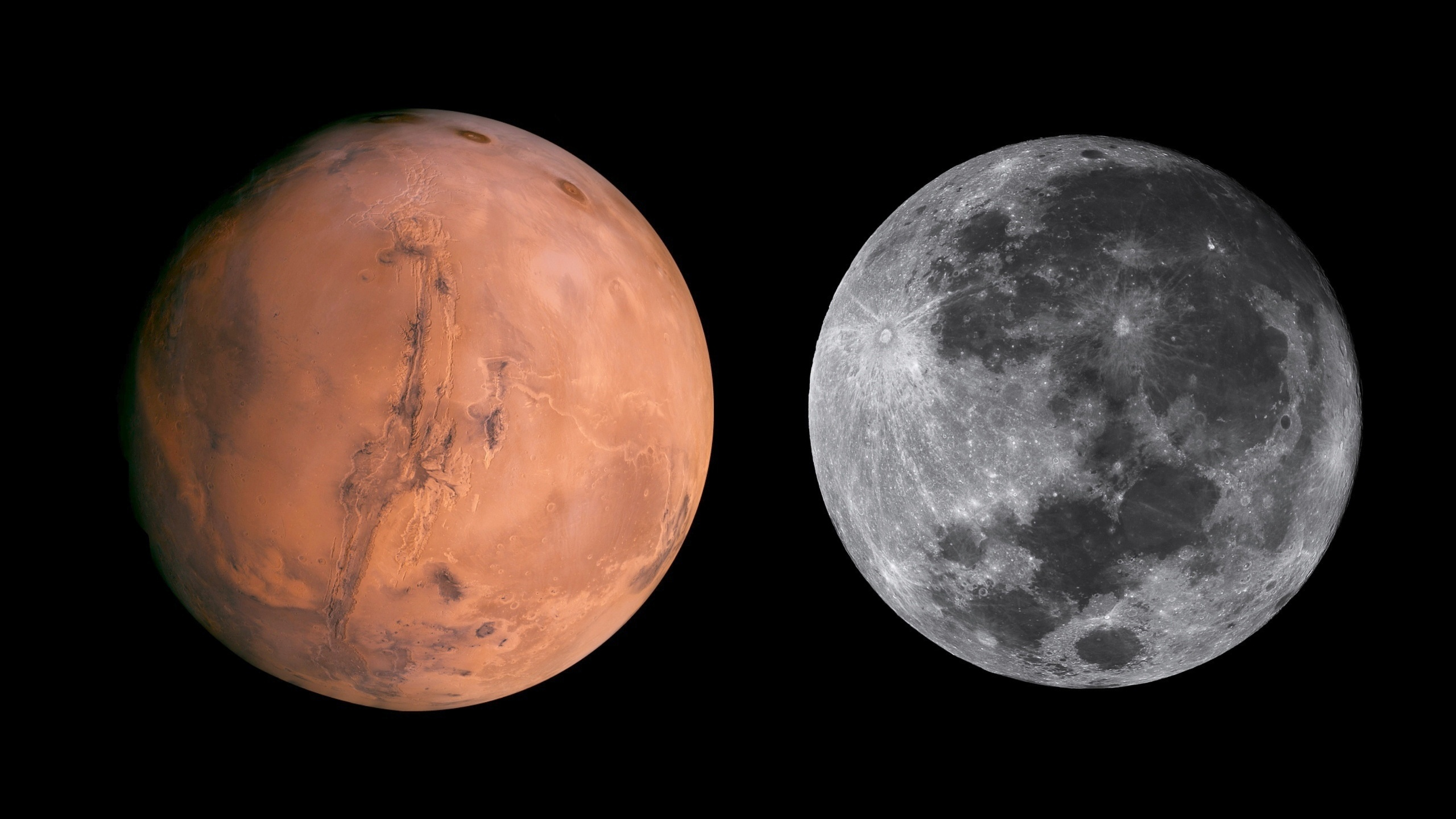 mars compared to the moon - HD 2560×1440
