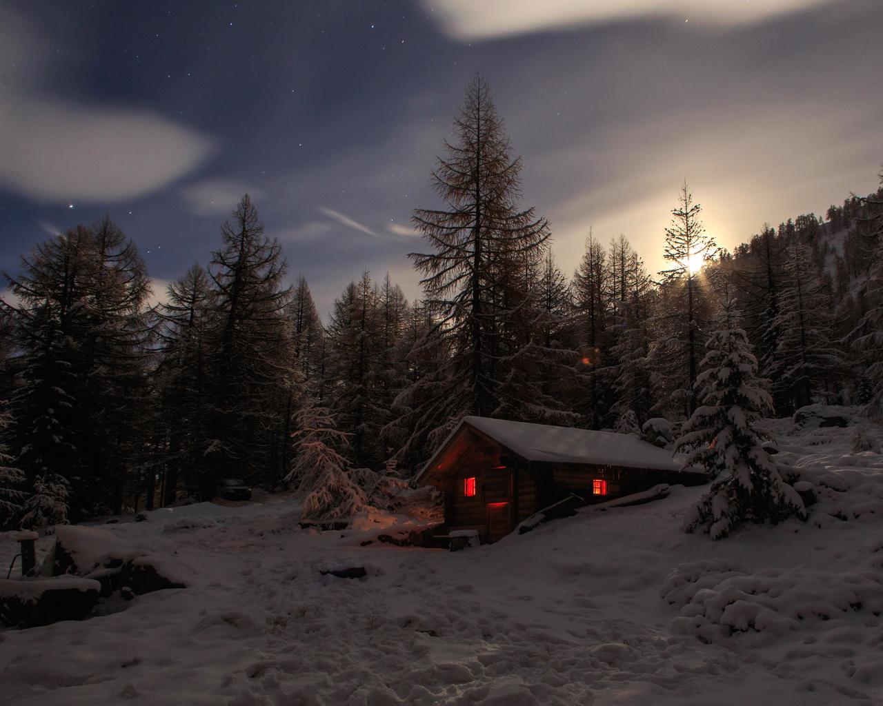 швейцария, домик, зима, лес, ель, ночь, снег, альпы, природа