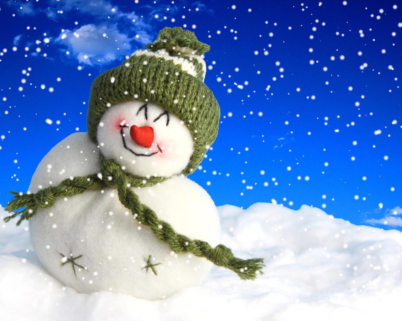 зима, снег, снеговик, игрушка