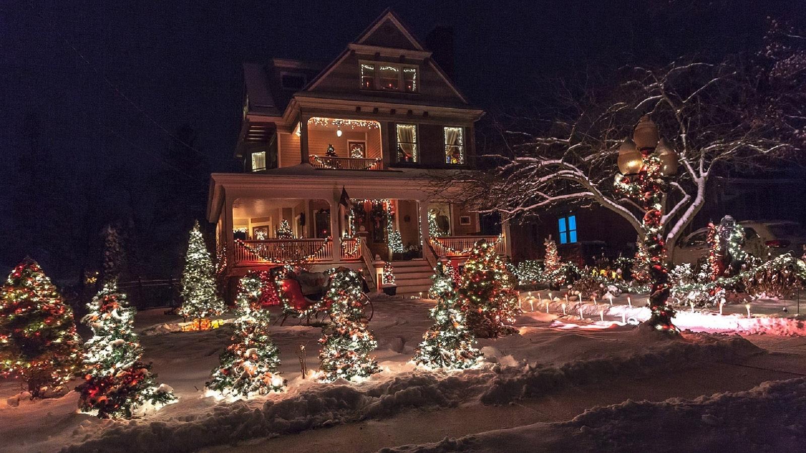 но��, огон�ки, нов�й год, домик, зима, �нег, п�аздник, елка, ве�е�