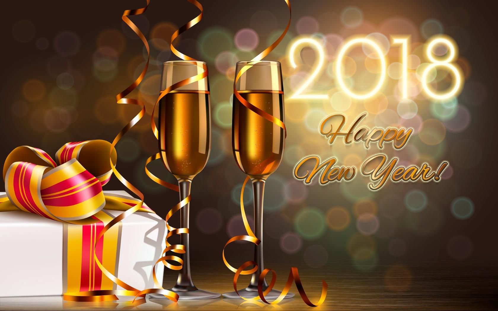 графика, праздник, новый год, коробка, подарок, бокалы, серпантин, боке, 2018