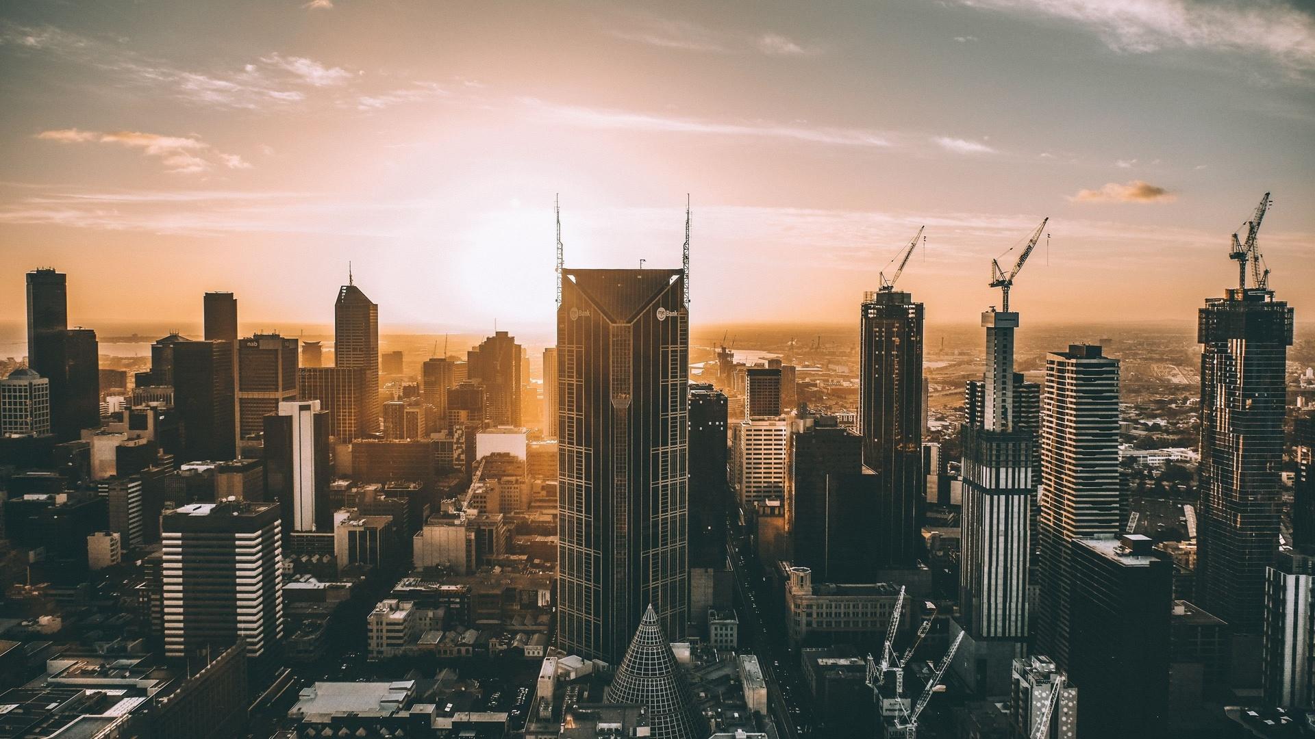 мельбурн, 4к, городской пейзаж, небоскребы, стройки, австралия