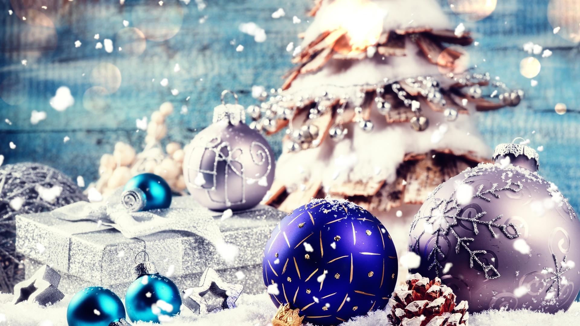 праздник, новый год, рождество, декорация, ёлка, игрушки, шары, подарок, коробка, снег, шишка, боке