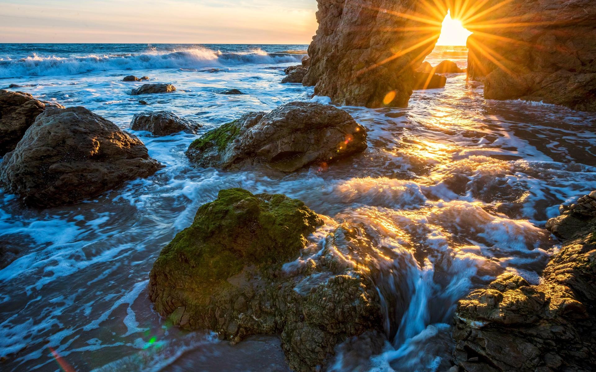 природа, берег, море, солнце, закат, небо, лучи, арка, камни, закат, малибу, пляж эль матадор, фотограф dr. elliot