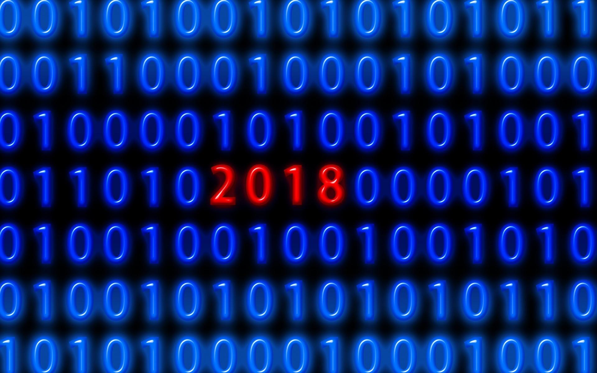 двоичный код, новый год, 2018, цифры