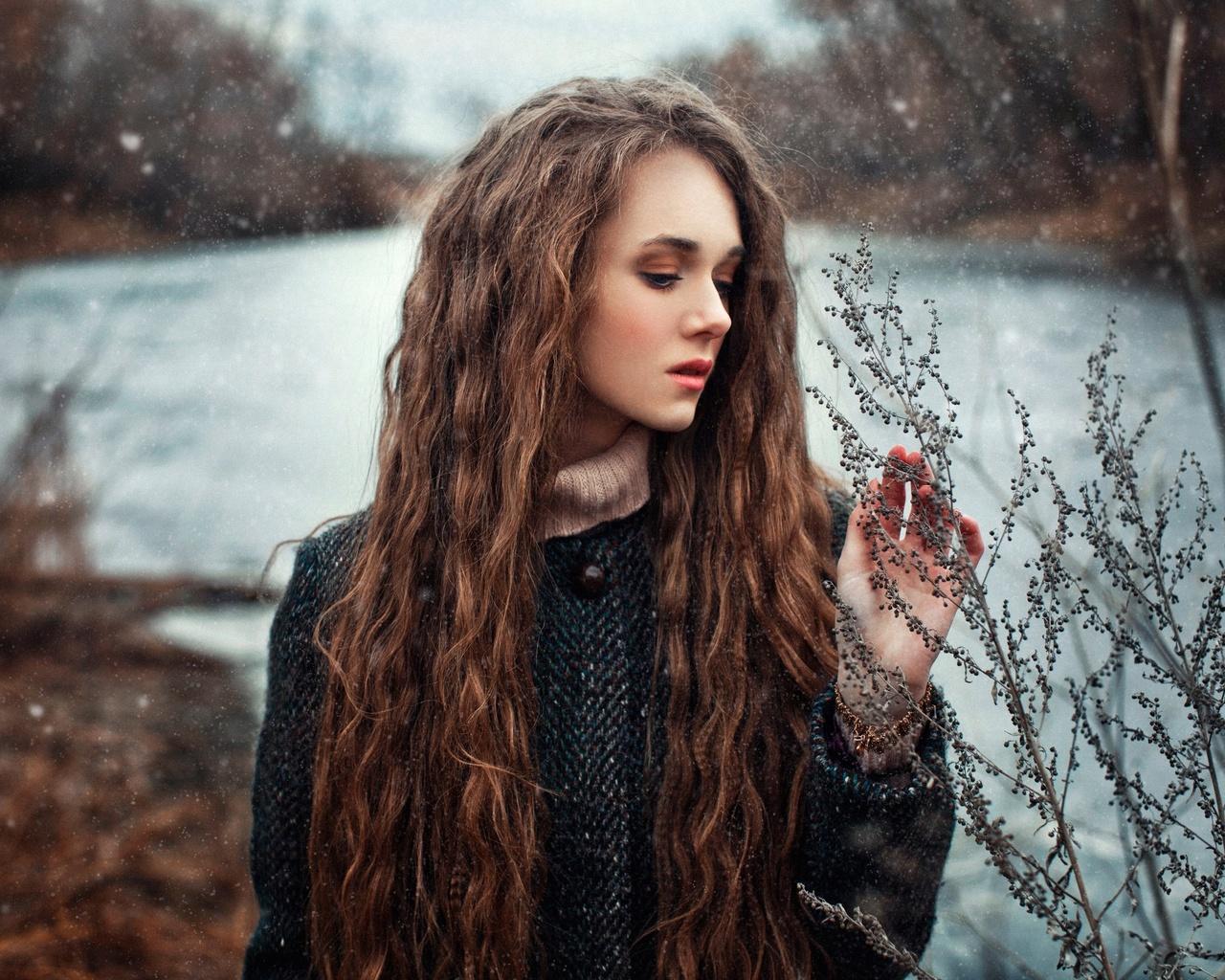 девушка, длинные волосы, на природе, речка, зима, фотограф, наталья меньтюгова