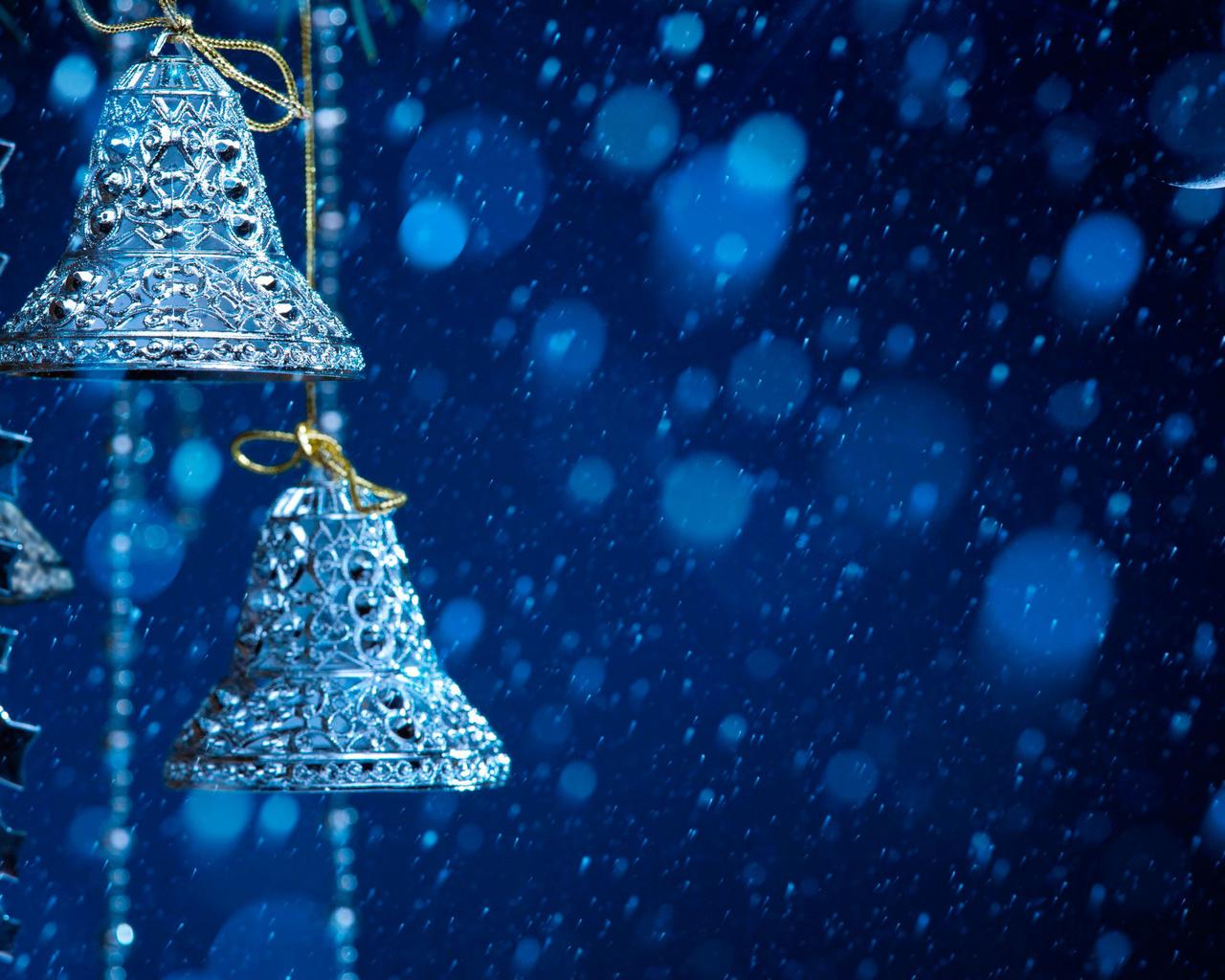 рождество, колокольчики, луна, игрушки, снег
