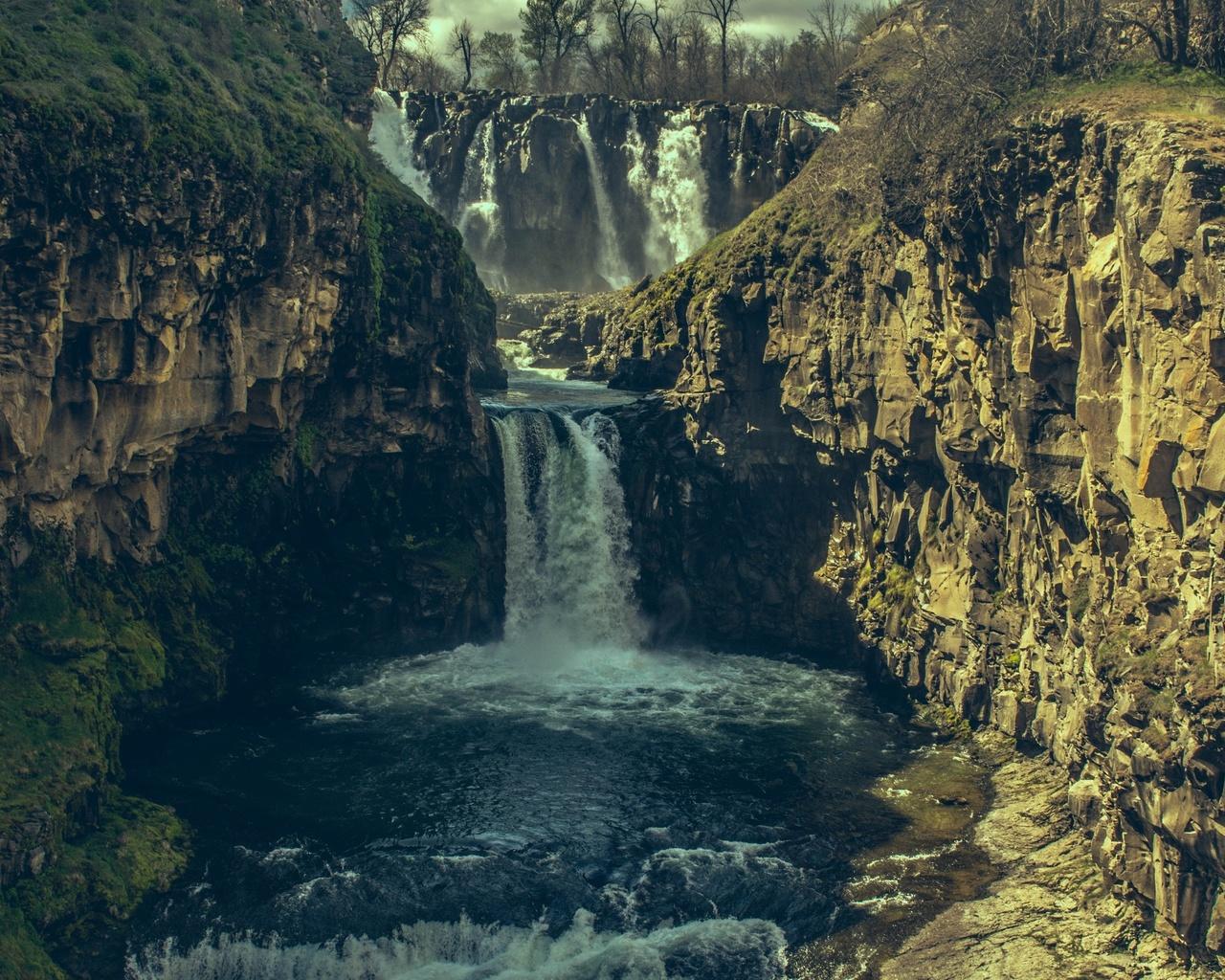 водопад, камни, скала, природа, португалия, утес
