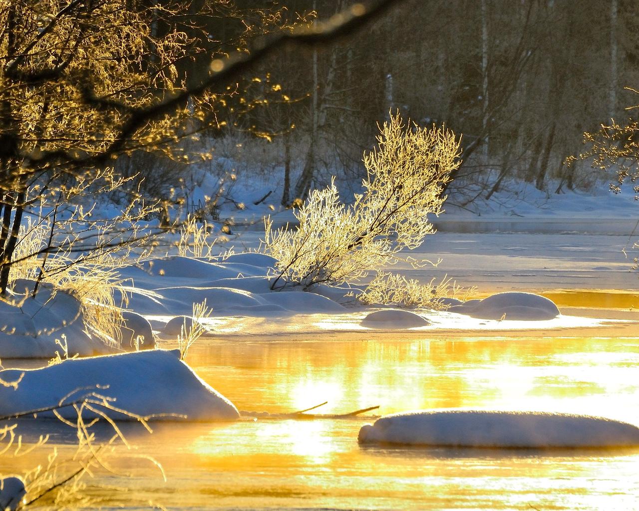 природа, зима, снег, деревья, кусты, ветки, сугробы, река, вода, hannu koskela