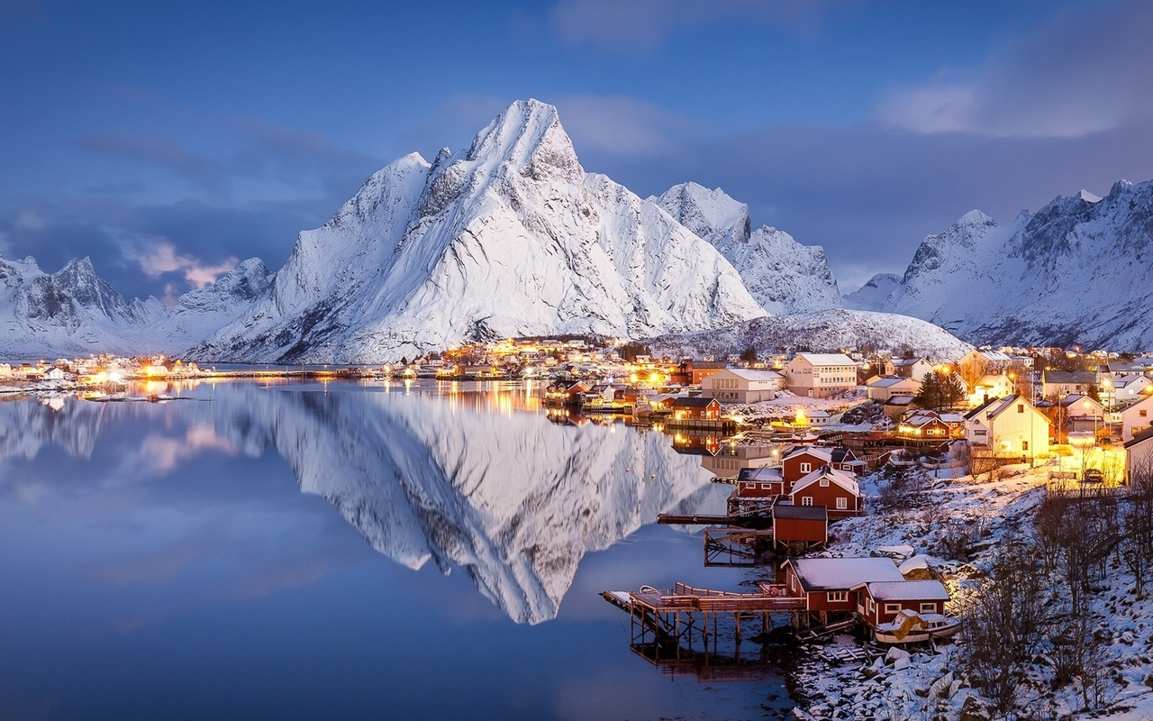 норвегия, reine, горы, зима