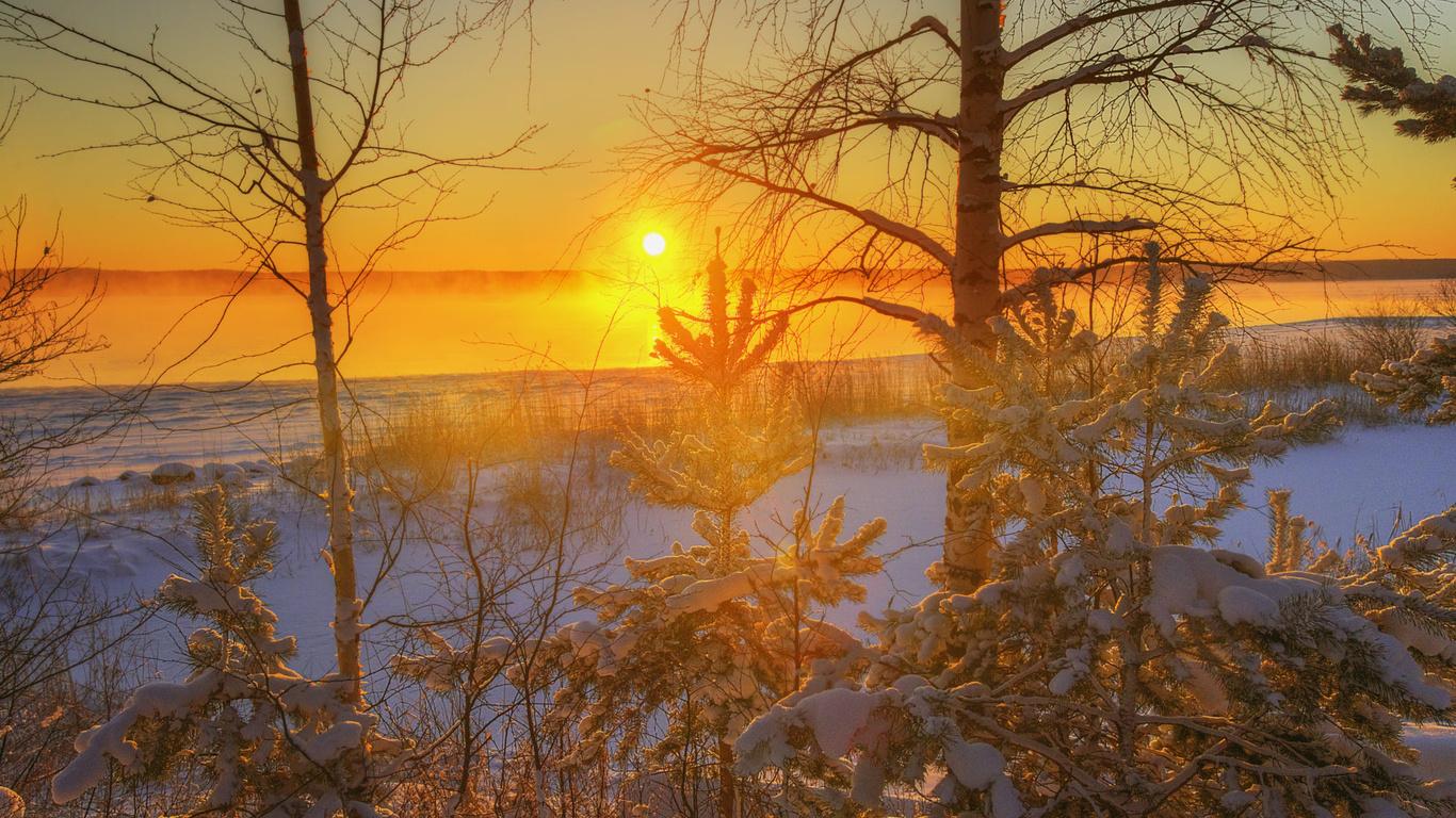 ed gordeev, снег, деревья, вуокс, солнце, закат, небо