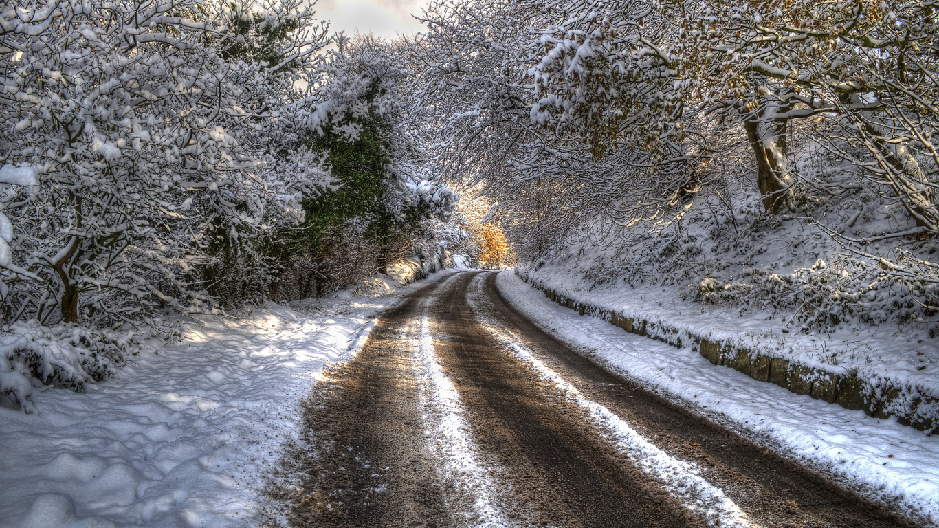 зима, дорога, деревья, ветки, hdr