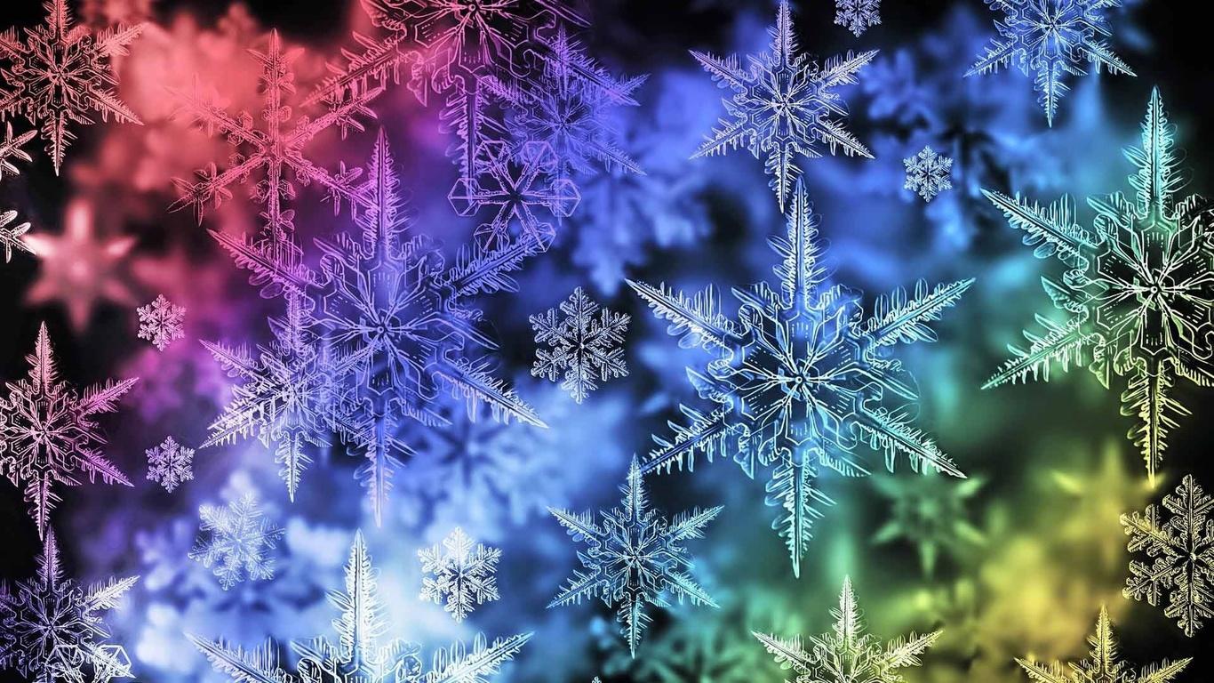 рождество, новый год, снежинки в спектре, текстура
