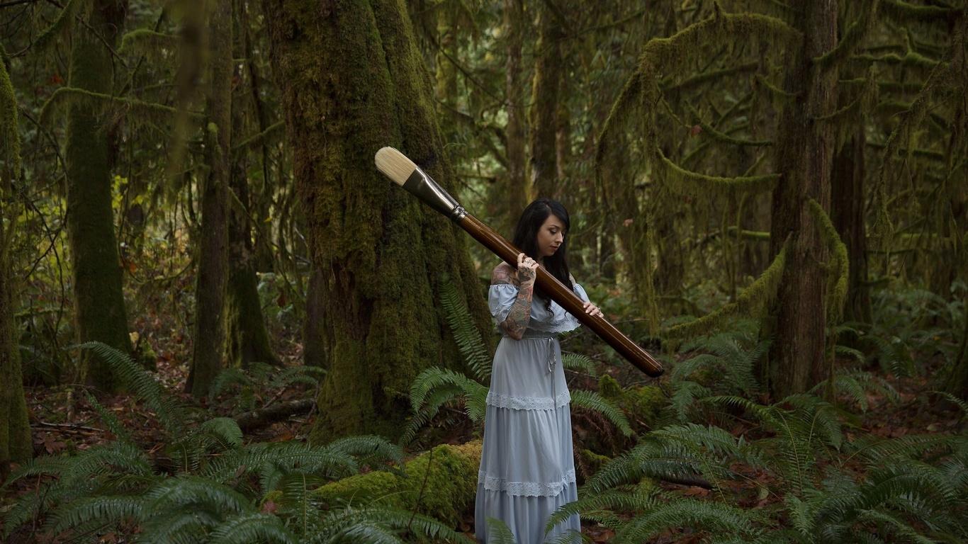 девушка, лес, кисть, фото, креатив