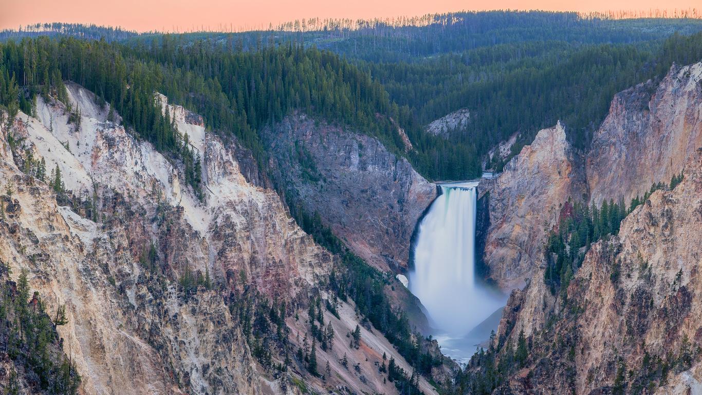yellowstone, природа, водопад