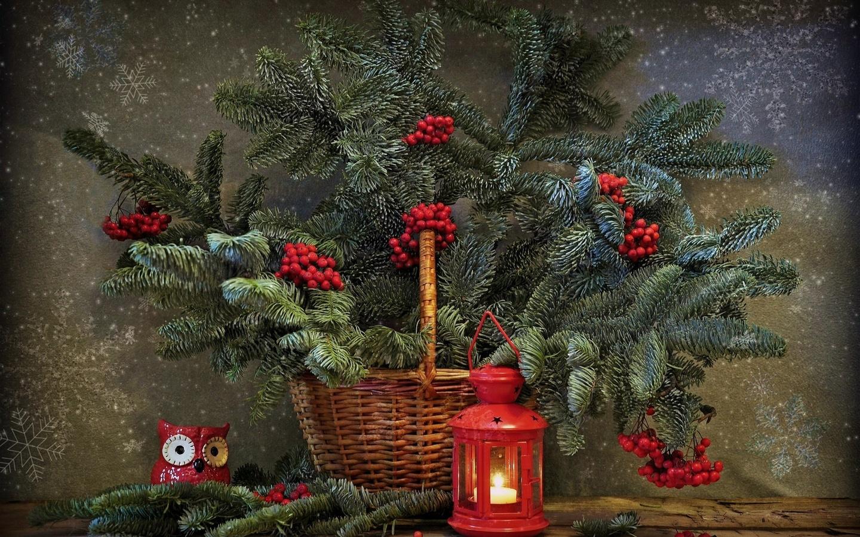 праздник, новый год, рождество, корзина, ветки, ель, ягоды, рябина, фонарь, игрушка, сова, снежинки