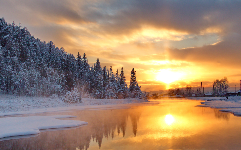 зима, снег, природа, река, деревня