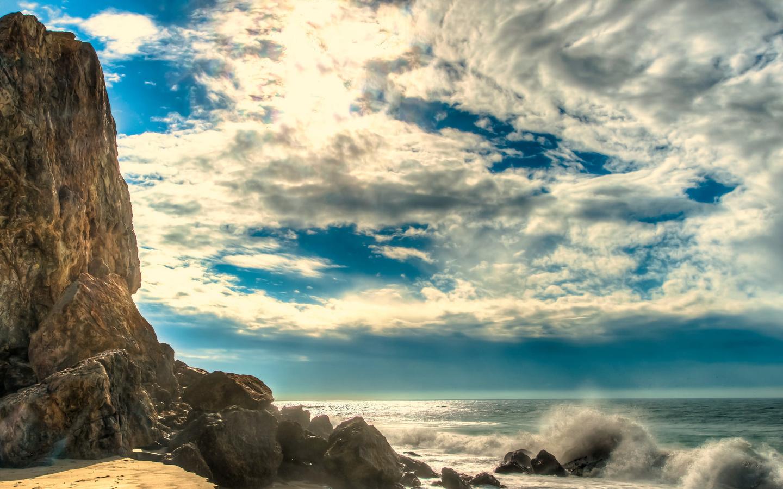 вода, небо, облака, малибу, волны