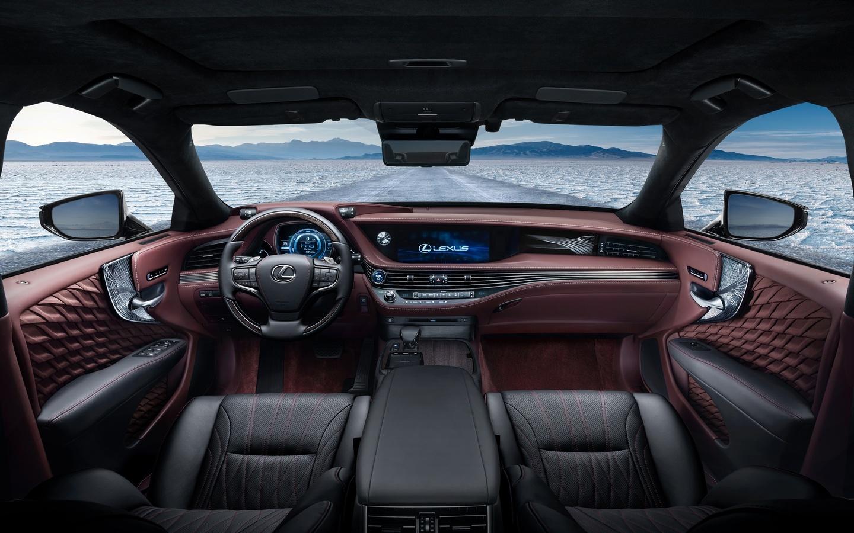 lexus-ls-500h, авто, салон, окна, вид, зима