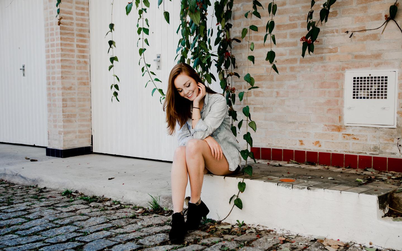 девушка, улица, настроение, улыбка