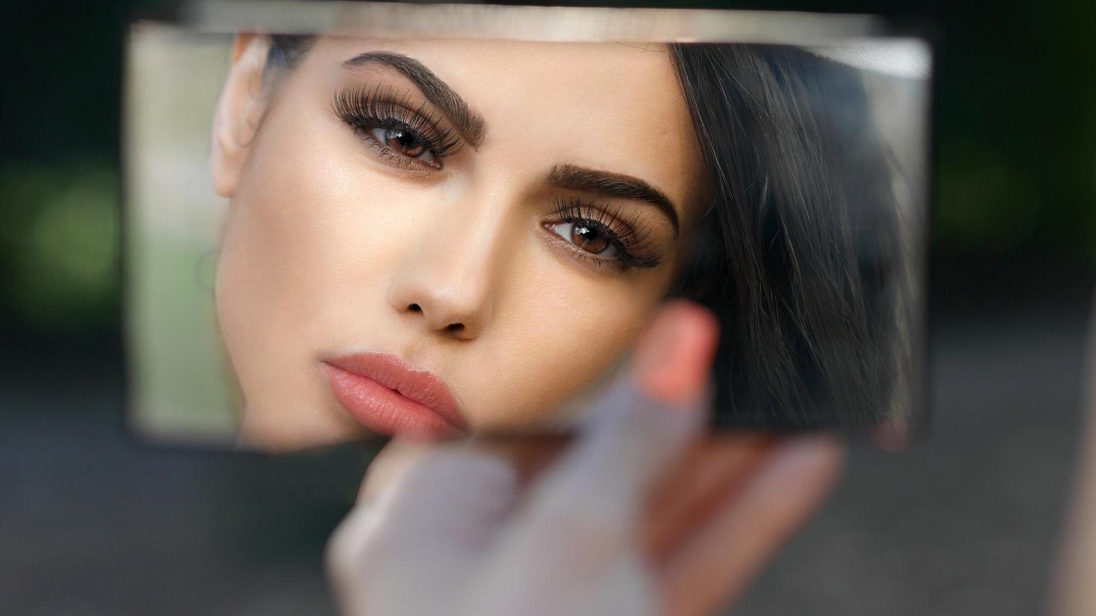 девушка, зеркало