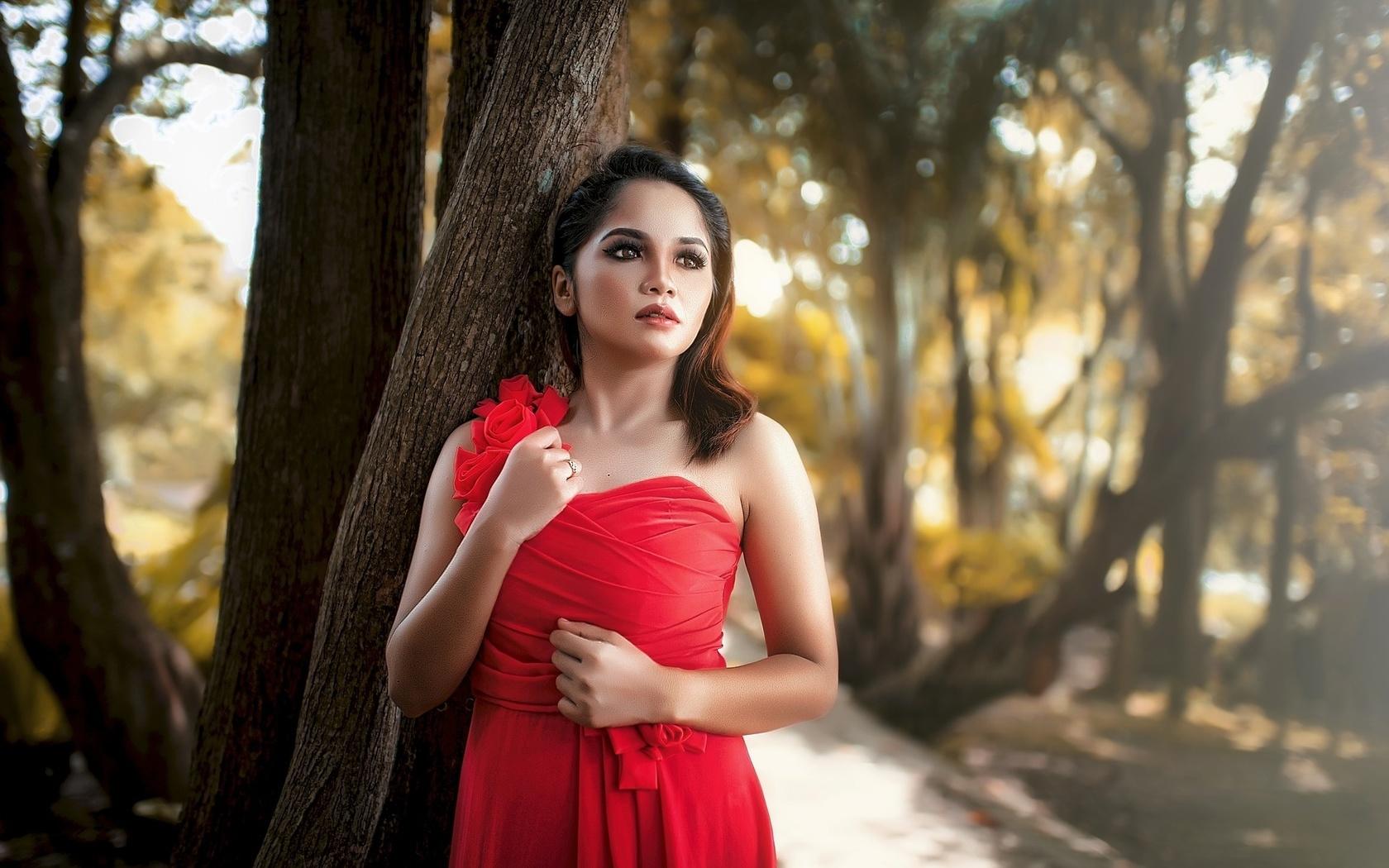 девушка, в красном, дерево, природа, боке