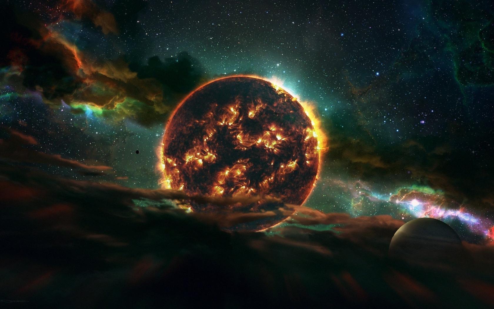 арт, космос, планеты, звезды
