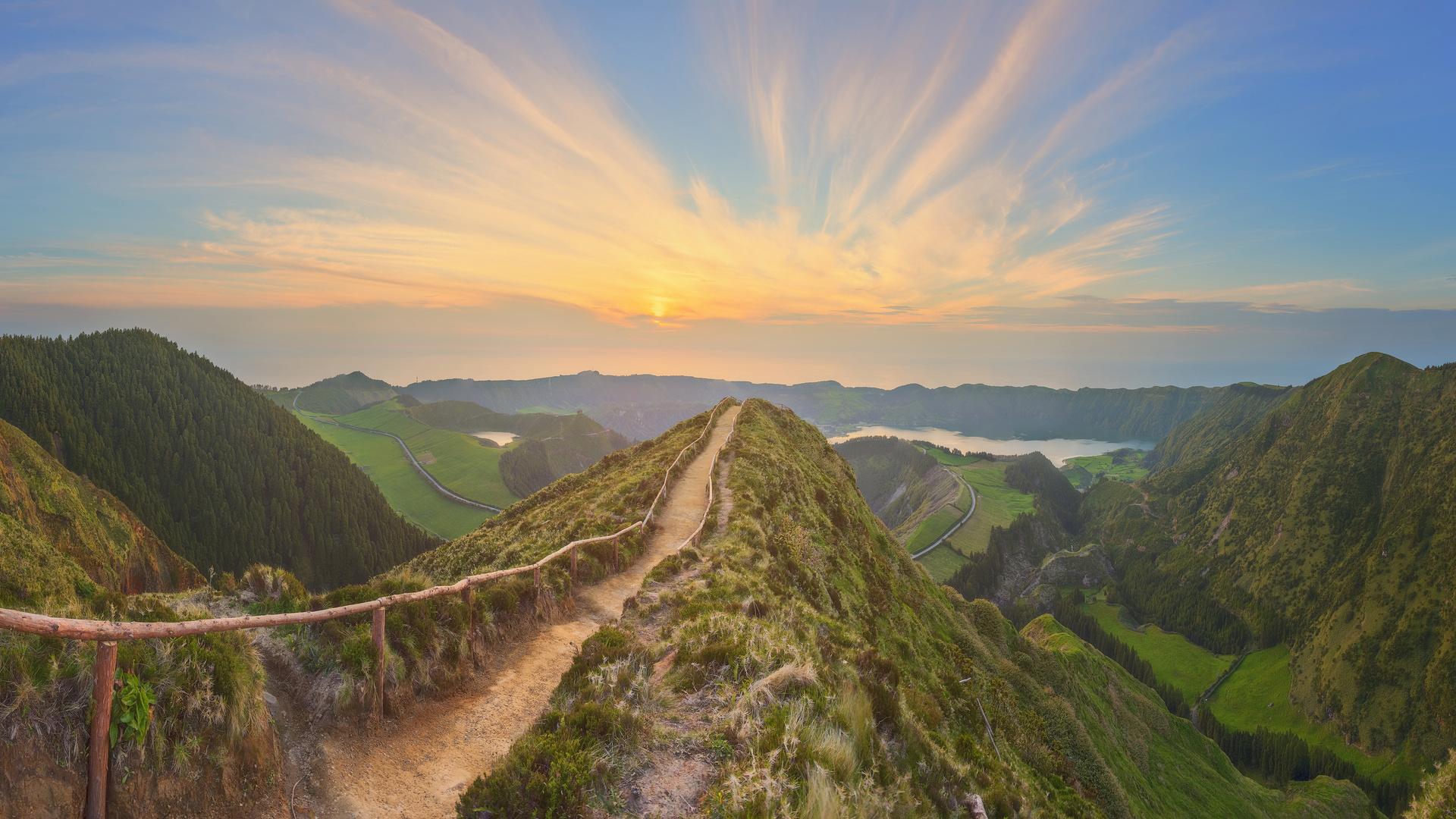 португалия, рассвет, природа, тропинка, холмы