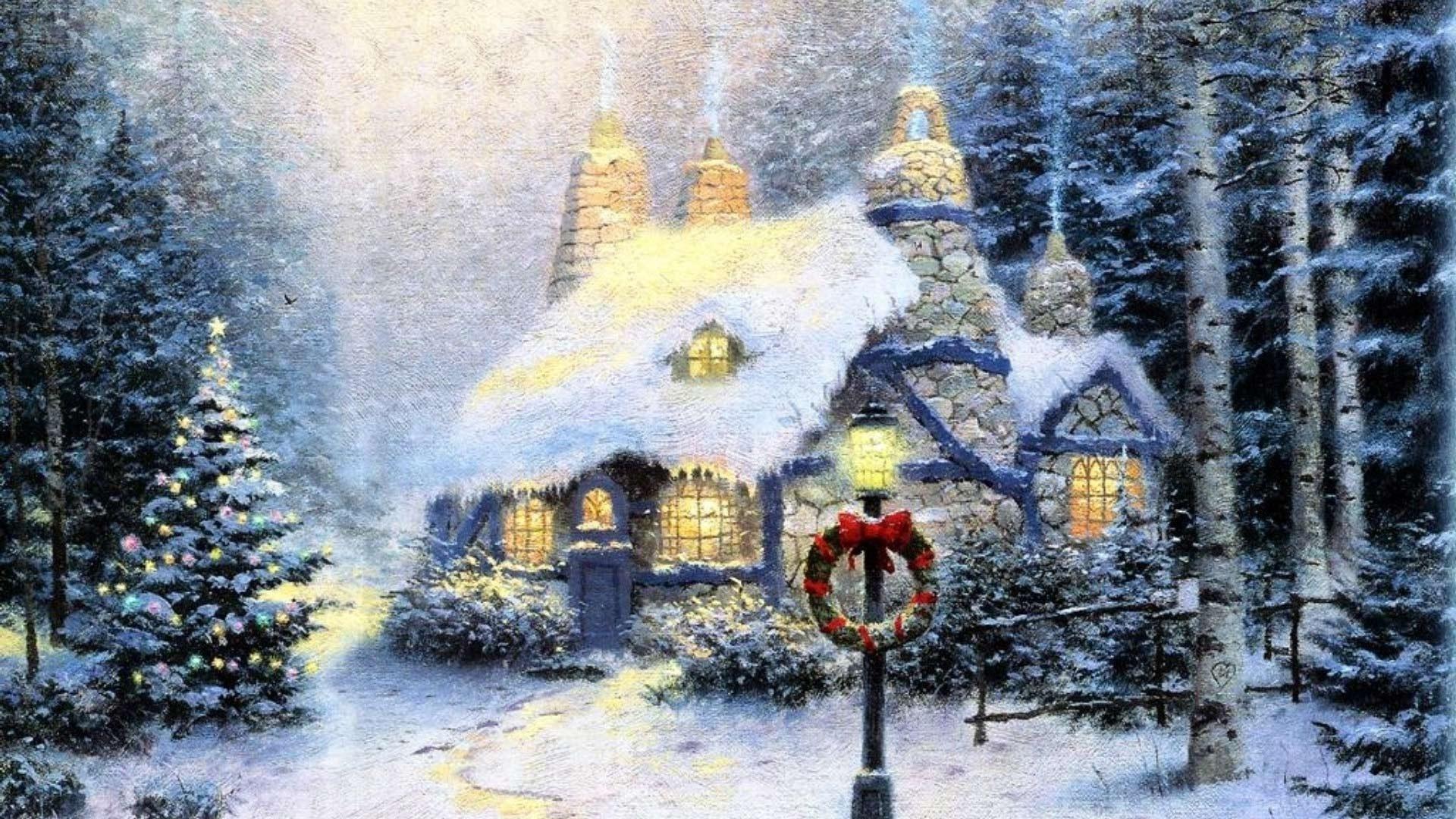 рождество, лес, зима, дом, фонарь, венок, свет