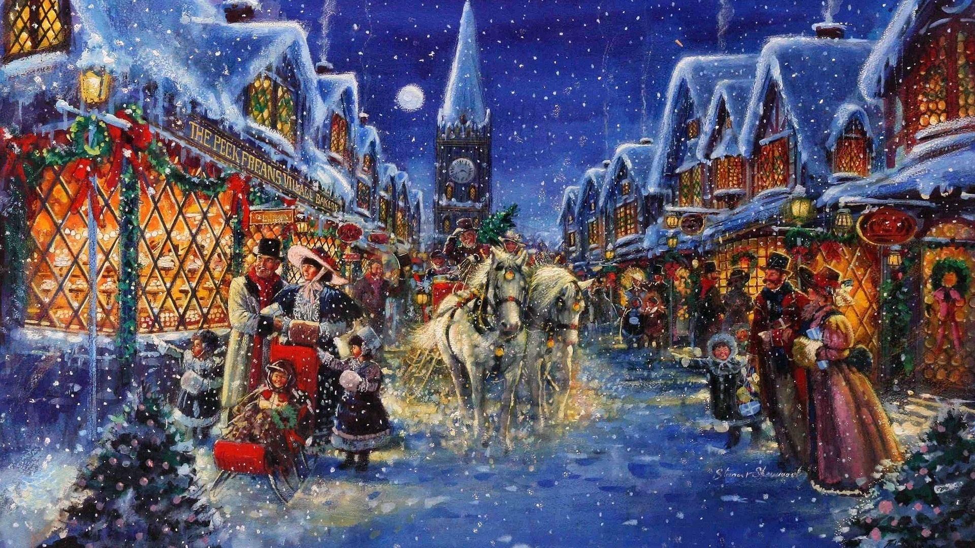 рождество, вечерний город, зима, снег, праздник, stewart sherwood
