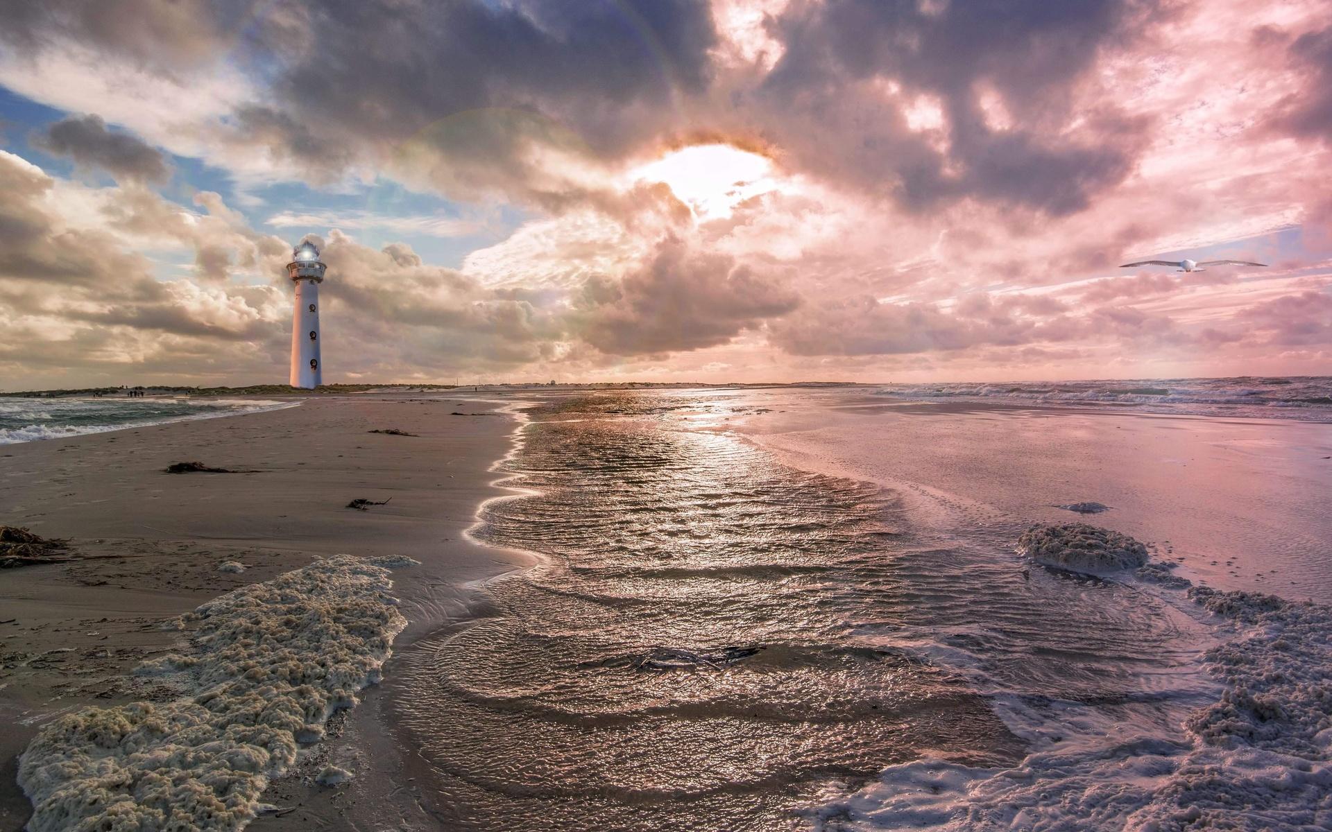 небо, море, волны, маяк