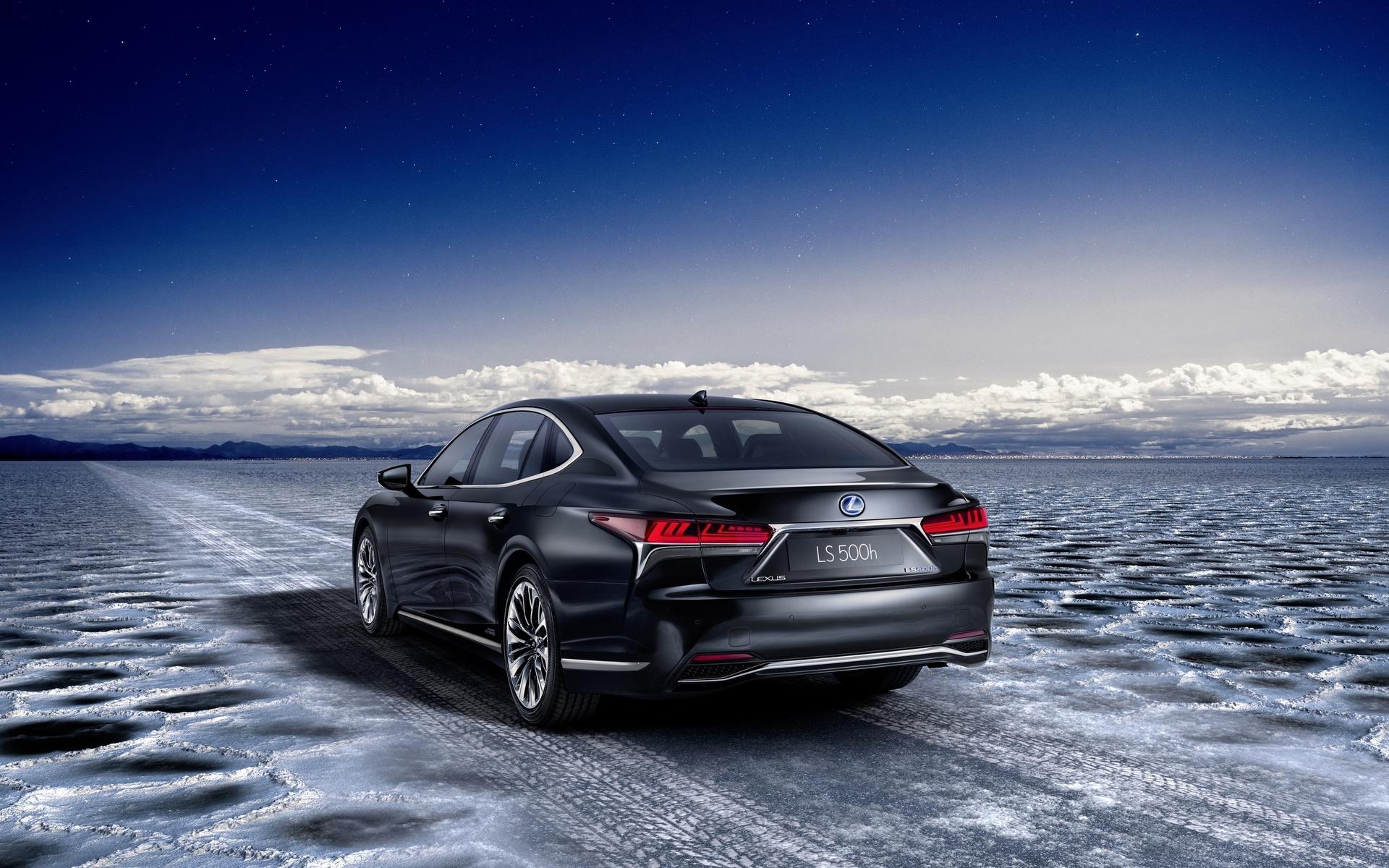lexus-ls-500h, авто, небо, облака, дорога, лед