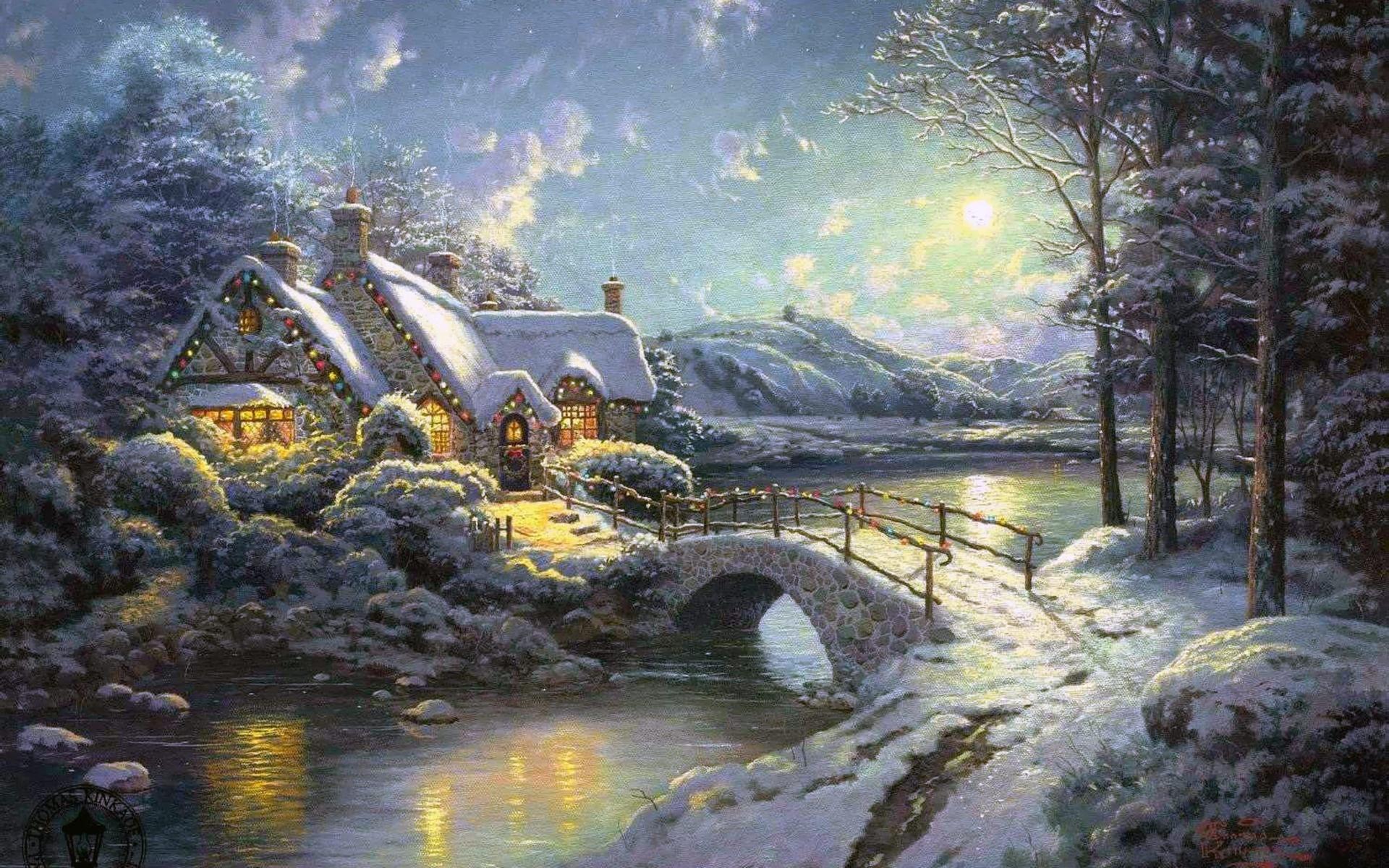 зима, рождество, лунный свет, лес, дом, речка, мост, thomas kinkade
