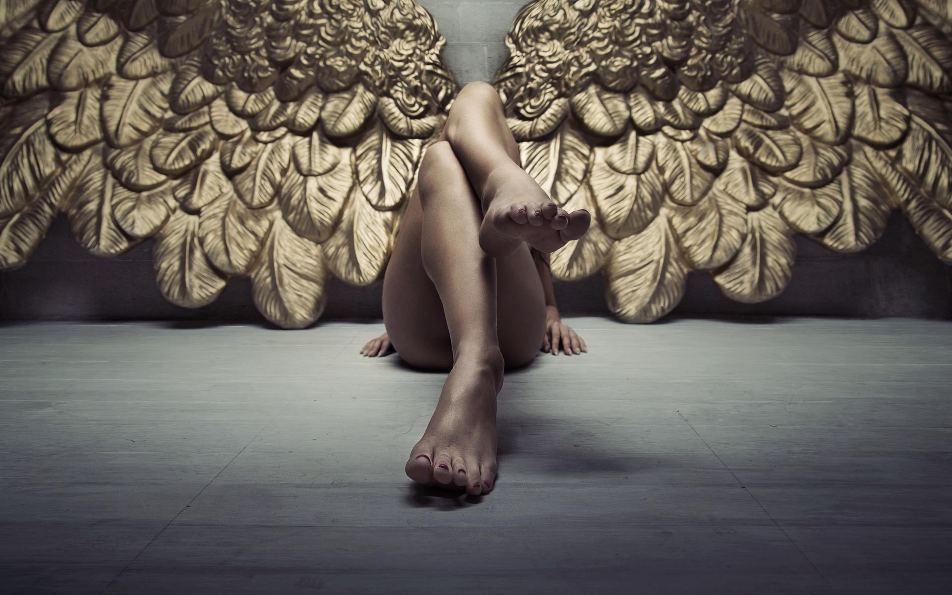 ангел, ножки, крылья, девушка