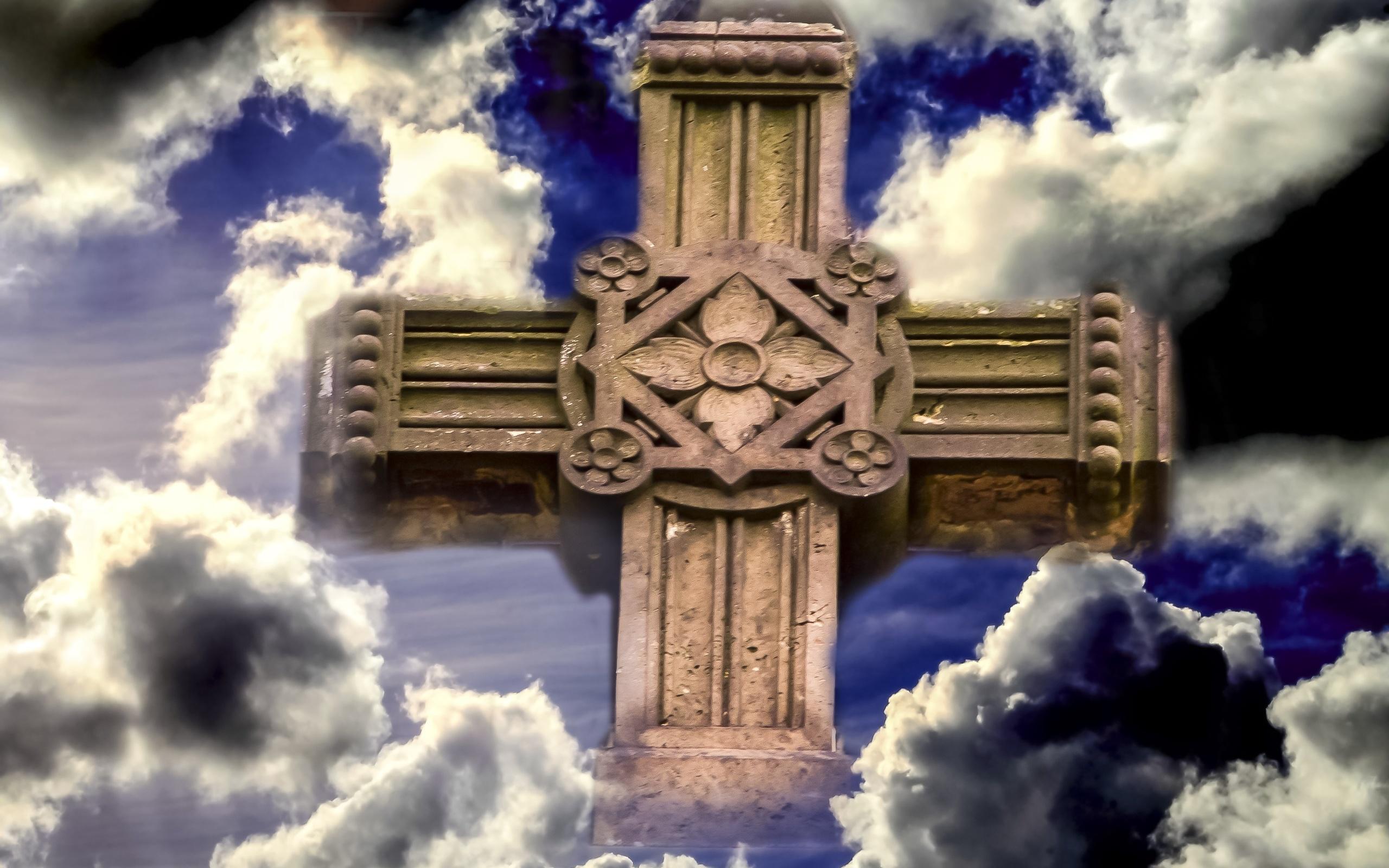 небо, облака, крест