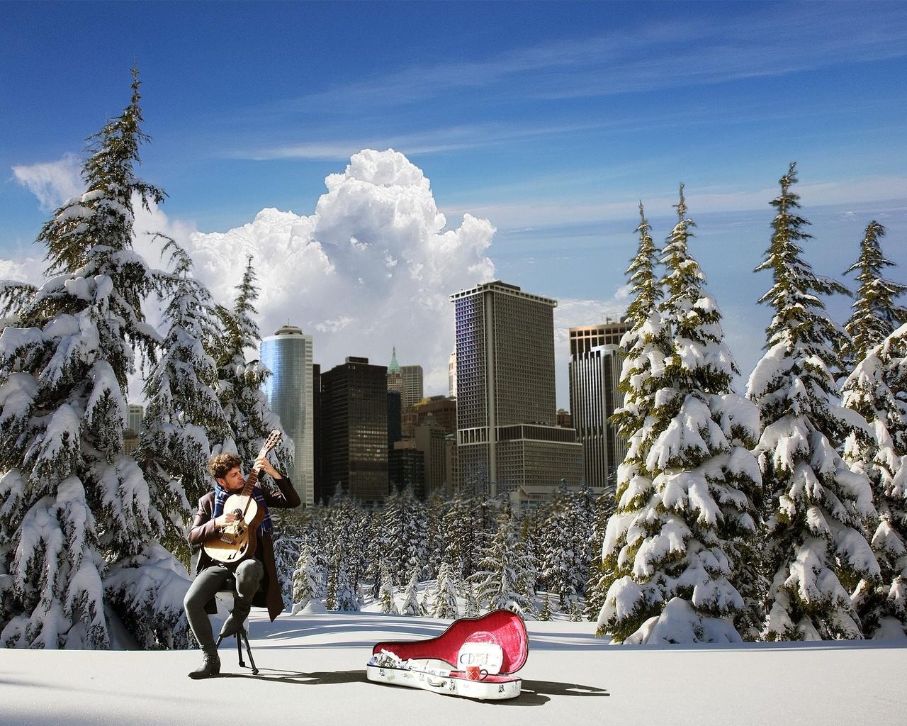 гитарист, деревья, снег, здания, пейзаж, композиция