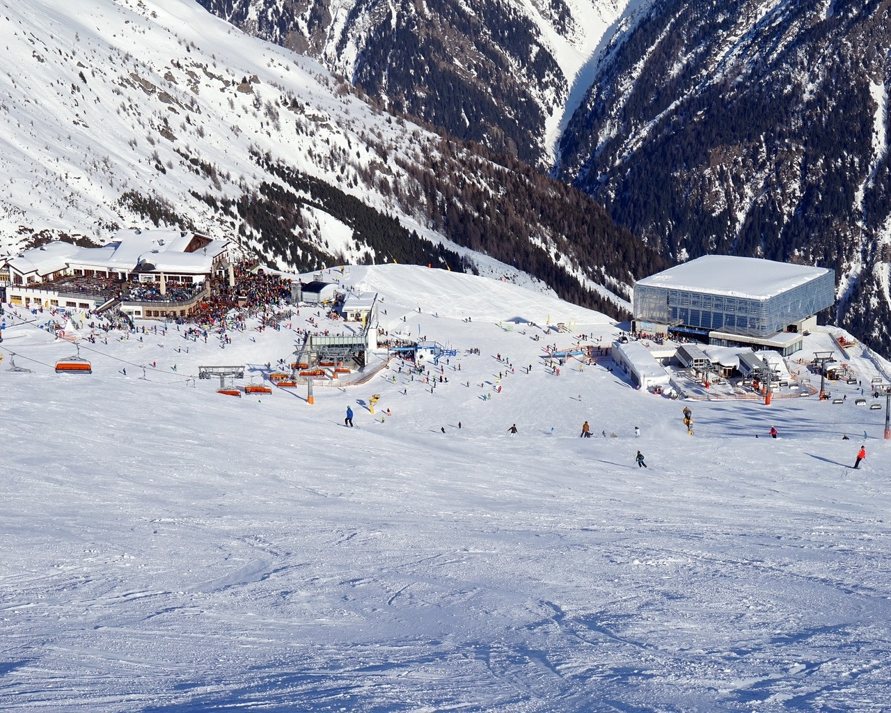 горы, курорт, горнолыжный, панорама
