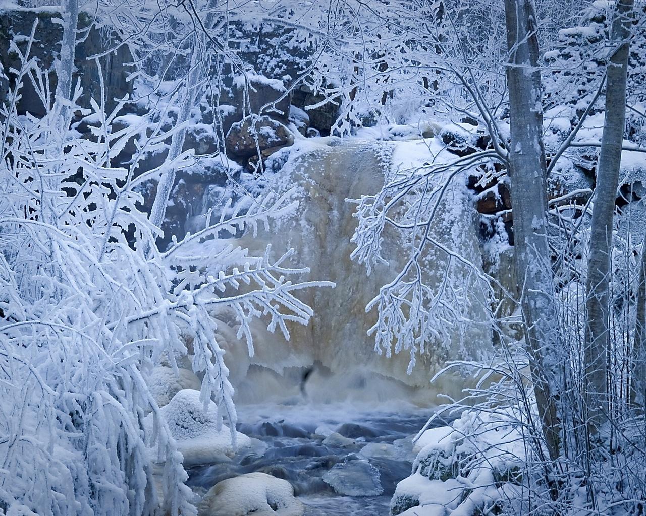 природа, снег, зима, иней, деревья, швеция, река, ручей, лес