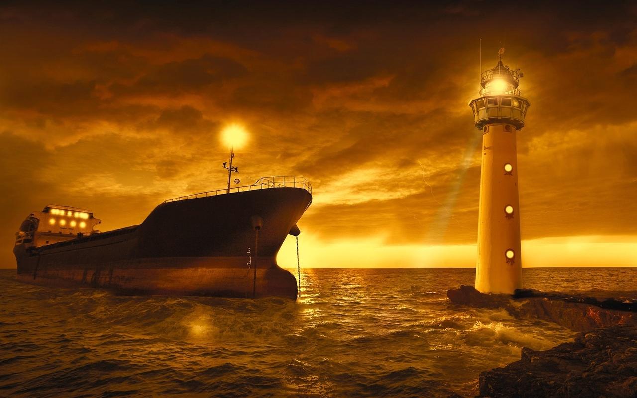 закат, море, маяк, судно