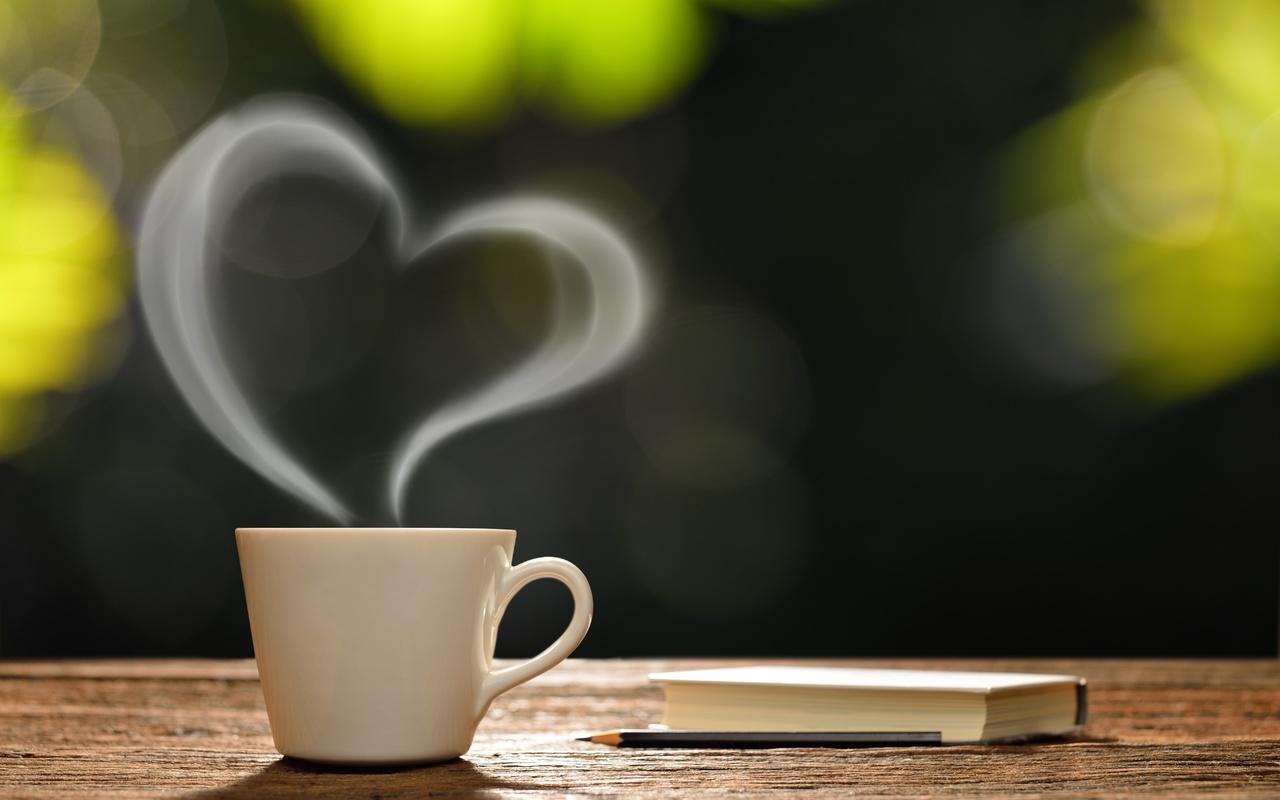 чашка, пар, сердце, книга, карандаш, боке, доска