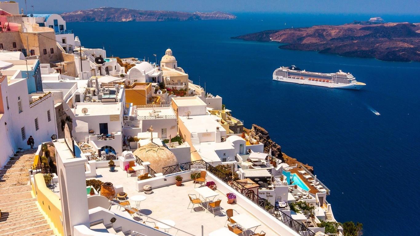санторини, город, горы, греция