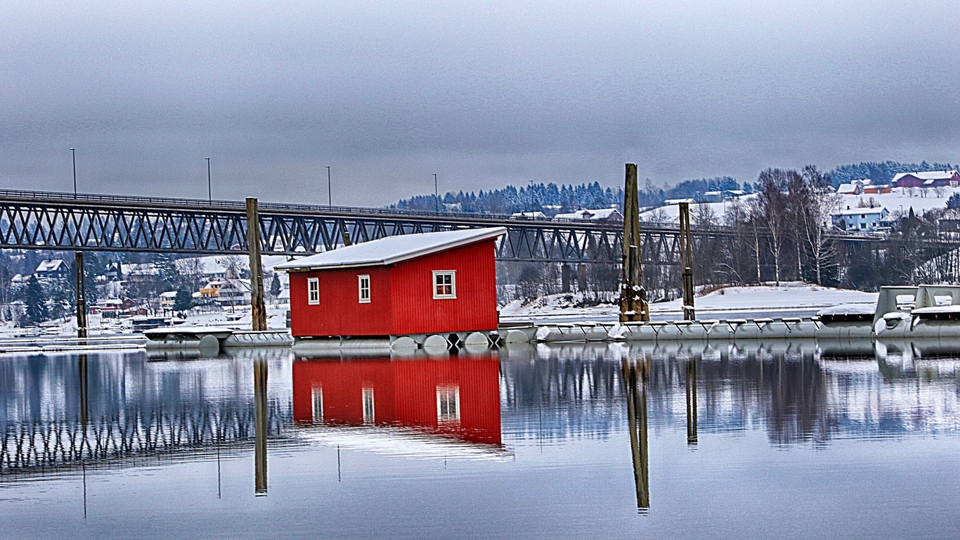 снег, река, домик