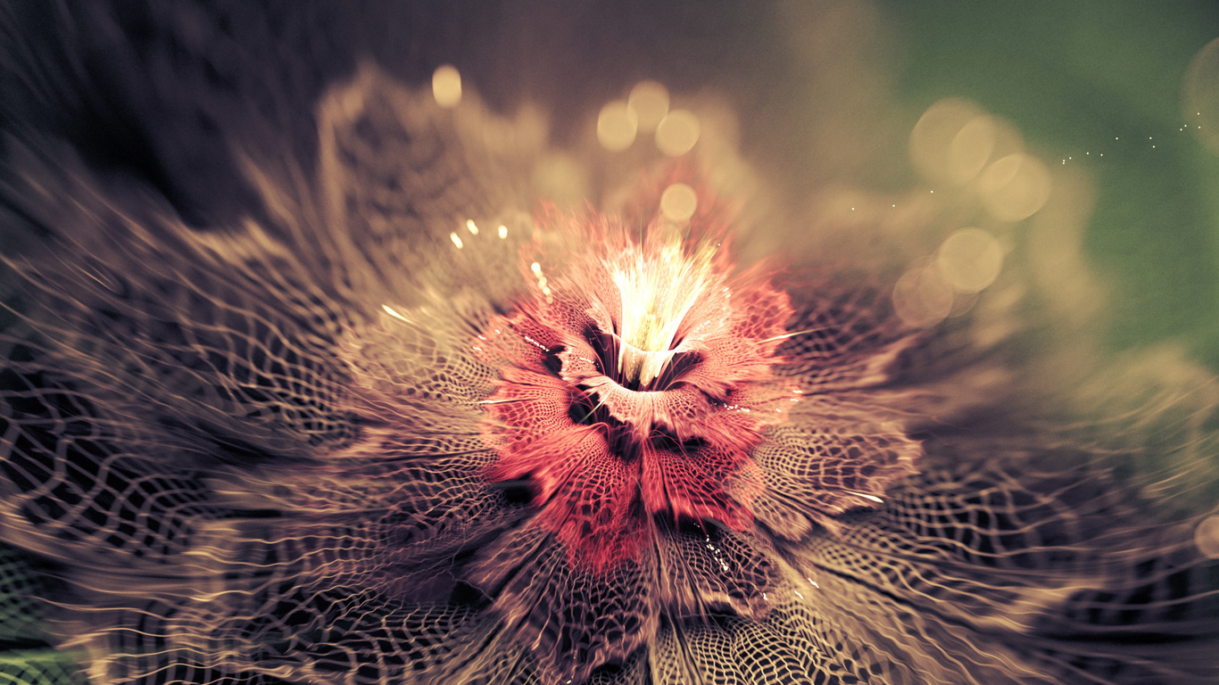 фракталы, абстракция, цветок, боке