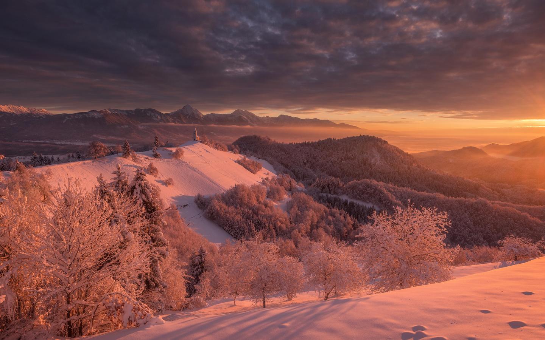 словения, зима, рассвет, лес, снег, холмы, природа