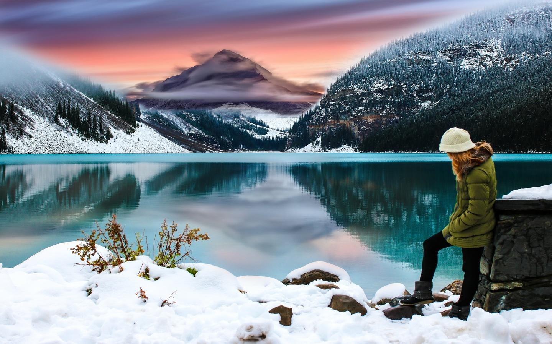 озеро, отражение, горы, снег, девушка, композиция