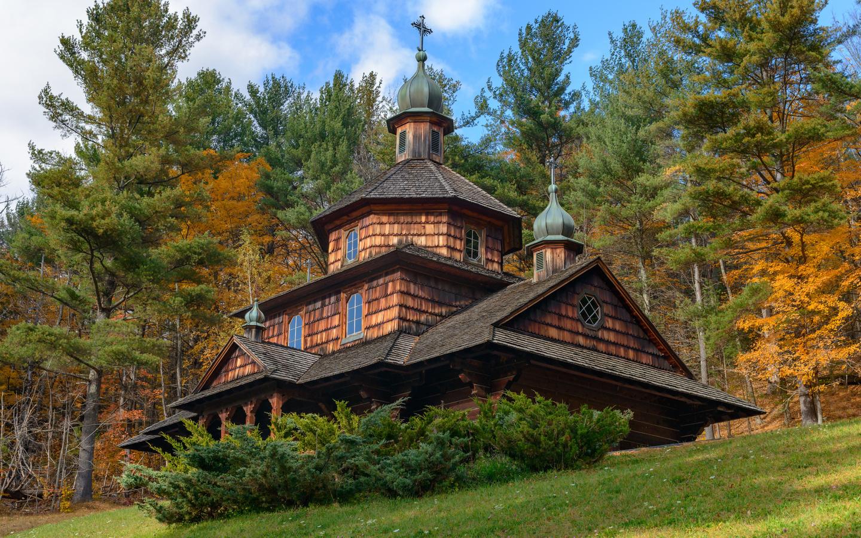 церковь, осень, деревья